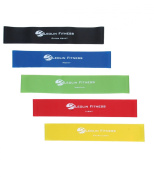 Resistance Bands from Leolin Fitness for Physical Therapy   Set of 5 Loop Exercise bands for legs  Strength/ Stretch bands come with mesh carry bag   Suitable for Men and Women