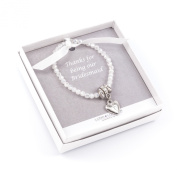 Bridesmaid sparkly/pearlescent heart bracelet (childsize), Gift with printed 'Thankyou for being our bridesmaid' message, packaged in smart white box