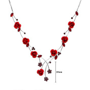 Glamorousky Elegant Rose Necklace with Red Austrian Element Crystals and Crystal Glass