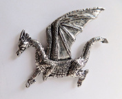 Dragon Facing Left Pewter Pin Badge - Hand Made in Cornwall