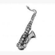 Pewter Saxophone Pin Badge or Brooch Gift for Scarf, Tie, Hat, Coat or Bag