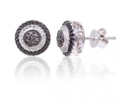 Theia Sterling Silver Black and White Diamond Designed Round Shaped Stud Earrings