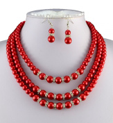 Jays Jewellery - Wedding Jewellery 3 Tier Red Faux Pearl & Clear Rondell Necklace Earrings