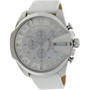 Diesel Men's White Leather-strap Water-resistant Quartz Watch