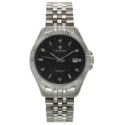 Men's Silvertone Stainless Watch with Black Dial & Diamond Markers