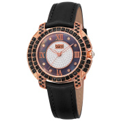 Burgi Women's Japanese Quartz Square-Cut. Crystals Leather Strap Watch