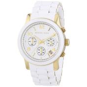 Michael Kors Women's MK5145 Runway Chronograph White and Yellow Goldtone Watch