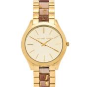 Michael Kors Women's MK4300 Slim Runway Gold-tone Thee Hand Watch
