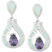 La Preciosa Sterling Silver White Opal Cubic Zirconia Teardrop Earrings