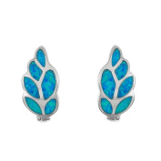 La Preciosa Sterling Silver Blue Opal Leaf Huggie Earrings