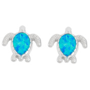 La Preciosa Sterling Silver Opal Turtle Stud Earrings