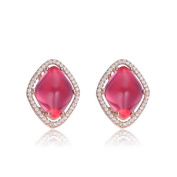 Collette Z Sterling Silver Red Cubic Zirconia Button Earrings