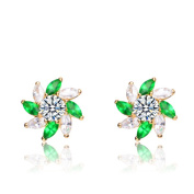 Collette Z Gold Plated Green Cubic Zirconia Stud Earrings With Pinwheel Design