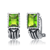 Collette Z Sterling Silver Lime Green Cubic Zirconia Earrings