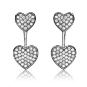 Collette Z Sterling Silver Cubic Zirconia Double Heart Jacket Earrings