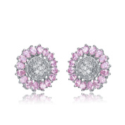 Collette Z Sterling Silver Purple and ClearCubic Zirconia Knob Earrings