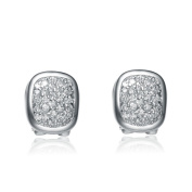 Collette Z Brass Pave Cubic Zirconia Oval Earrings