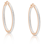 Finesque Sterling Silver or Gold Over Silver Diamond Accent Hoop Earrings