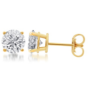 Sterling Silver Round Diamond Solitaire Stud Earrings