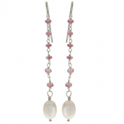 Pearls For You Sterling Silver White Freshwater Pearl and Pink Tourmaline Dangle Earrings