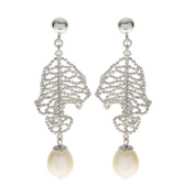 Pearls For You Sterling Silver White Freshwater Pearl 'Lace' Dangle Earrings