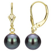 DaVonna 24k Gold over Silver Black FW Pearl Leverback Earrings