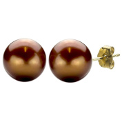 DaVonna 14k Gold Chocolate FW Pearl Stud Earrings