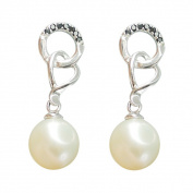 Freshwater Pearl and Spinel Interlocking Dangle Earrings