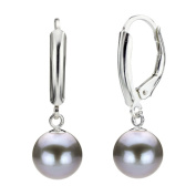 DaVonna Silver Grey Round FW Pearl Leverback Earrings