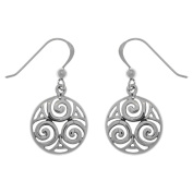 Jewellery Trends Sterling Silver Celtic Triskele Knot Round Dangle Earrings