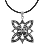 Jewellery Trends Silverplated Borre Viking Medallion Pendant Black Leather Necklace