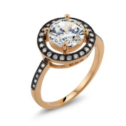 18k Two-tone Gold Round Cubic Zirconia 'Carla' Ring