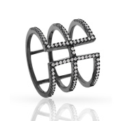 Black over Silver Fancy Cubic Zirconia Micro Pave Fashion Cage Ring