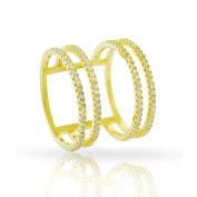 Yellow Gold over Silver Cubic Zirconia Micro Pave Multi Row Iced Ring