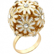 Riccova Colour-plated Enamel and Crystal Flower Ball Ring