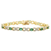 14k Yellow Gold Overlay Emerald and Diamond Accent Bracelet
