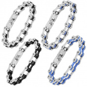 Men's Polished Stainless Steel Cubic Zirconia Bicycle Chain Bracelet - 8.75 inches