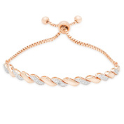Finesque Gold Over Silver Or Sterling Silver Diamond Accent Adjustable Bracelet