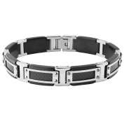 Crucible Blackplated Stainless Steel Silvertone Framed Screw Accents Carbon Fibre Inlay Link Bracelet
