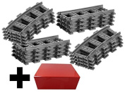 8x Straight Track + 8x Curved Tracks Lego Straight and Curve Straight Rails Track