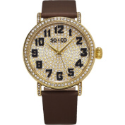 SO & CO New York Women's Madison Quartz Leather Strap Crystal Watch