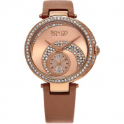SO & CO New York Women's Madison Quartz Tan Leather Strap Crystal Watch