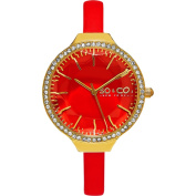 SO & CO New York Women's SoHo Quartz Coral Leather Strap Crystal Watch