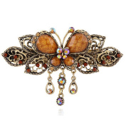 Sanwood Vintage Jewellery Inlaid Crystal Butterfly Dangle Hair Clips Barrette - Hair Pin Beauty Tools