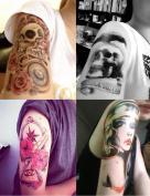 DaLin 4 Sheets Rocking Your Life Body Temporary Metallic Tattoos Flower Skull, Rock Lady