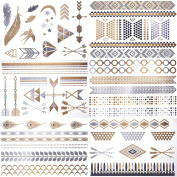 Cokohappy Metallic Temporary Tattoos,6 Different Sheets of Bling Gold Silver,Love Feather Hamsa Arrow Bracelets Necklace Armbands Ring Fake Jewellery Tattoos,Sexy Body Art Long Lasting for Men Women