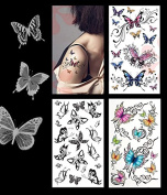 3-pack Sexy Butterfly Tattoo Lower Back, Shoulder, Neck, Arm Temporary Tattoos - Sexy Butterflies