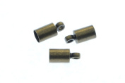 50pcs Cord End Caps in Antique Bronze, Tubes, Cord Loops, Crimp Ends. Fit for 3.4mm Cords. Jewellery Findings Supplies #SD-S7689