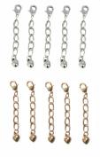 Necklace-Bracelet 2.5cm Extenders 10 Piece Silver & Gold Tone ~ 5 Pieces Each Colour