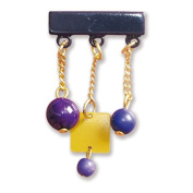 Gafforelli - Made in Italy Chain and pearl Pins (5cm ) in Purple colour